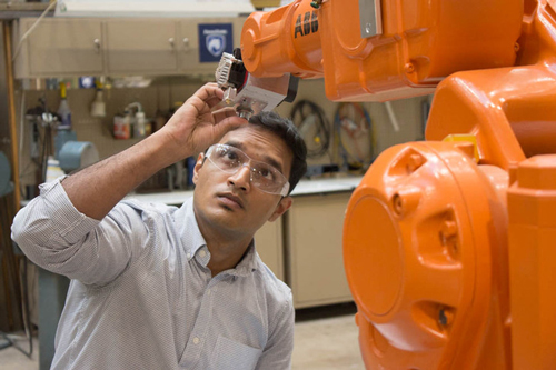 Rakshith Badarinath works in Factory for Advanced Manufacturing Education Lab at Penn State University