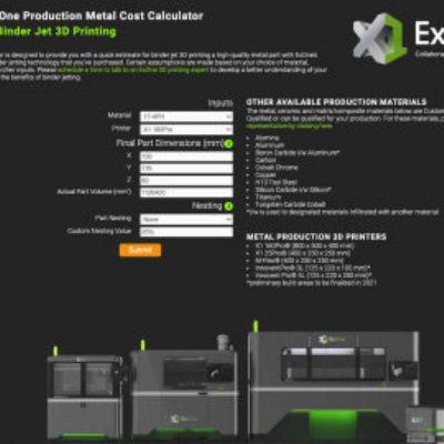 Cost Calculator Estimates Costs for Metal Binder Jettin...