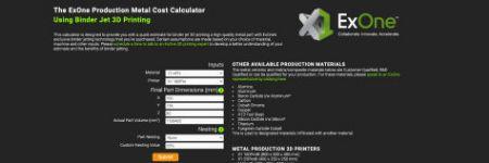 Cost Calculator Estimates Costs for Metal Binder Jetting